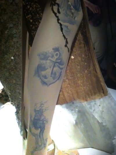 #tattoo #leg #blue #glitters #gold #goldie #jpg #jeanpaul gaultier #nanamouskouri #giels #fashion #show #exhibition #paris #france #fashion #design #mode